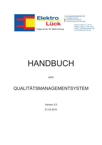 """Handbuch """"Qualitätsmanagement"""" - Elektro Lueck"""