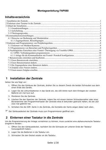 Inhaltsverzeichnis 1 Installation der Zentrale 2 Einlernen einer ...