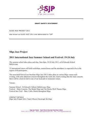 Sligo Jazz Project 2011 International Jazz Summer School and Festival 19-24 July