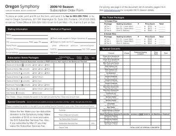 2009/10 Season Subscription Order Form