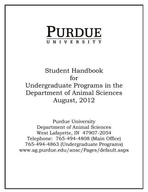 College of Agriculture - Animal Sciences - Purdue University