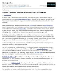 Report Outlines Medical Workers' Role in Torture