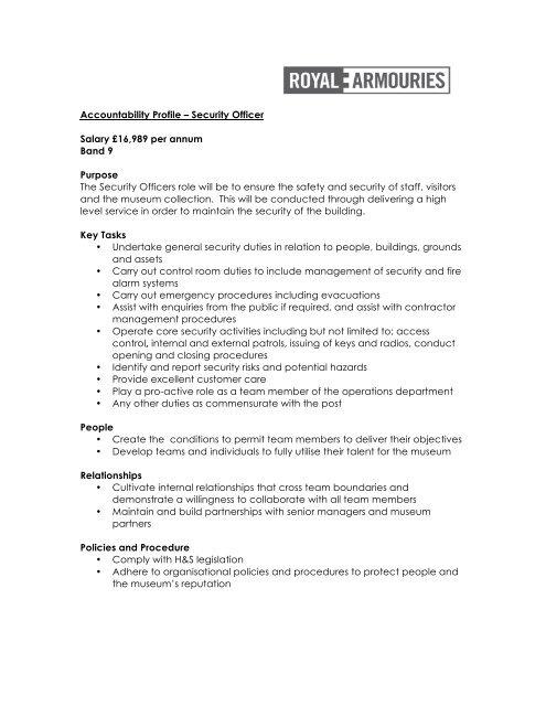 Accountability Profile – Security Officer Salary