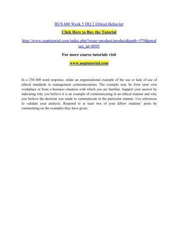 BUS 600 Week 5 DQ 2 Ethical Behavior