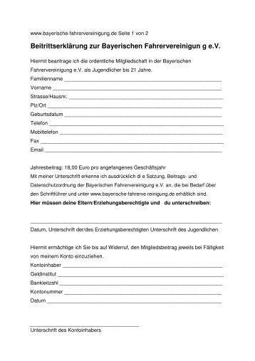 Beitrittserklärung zur Bayerischen Fahrervereinigun g e.V