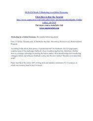 BUS 620 Week 5 Marketing in a Global Economy