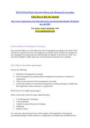 BUS 630 Final Paper Decision Making with Managerial Accounting