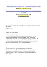 BUS 630 Managerial Accounting Week 5 Assignment (Middlehurst House )