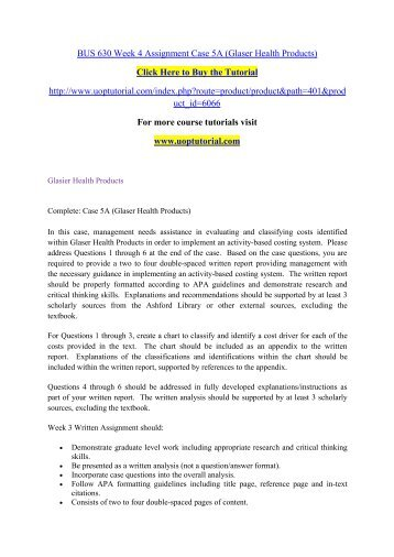 BUS 630 Week 4 Assignment Case 5A (Glaser Health Products)