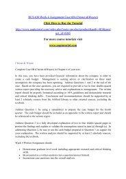 BUS 630 Week 4 Assignment Case 6B (Chester &Wayne)