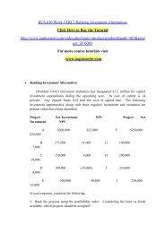 BUS 630 Week 5 DQ 2 Ranking Investment Alternatives