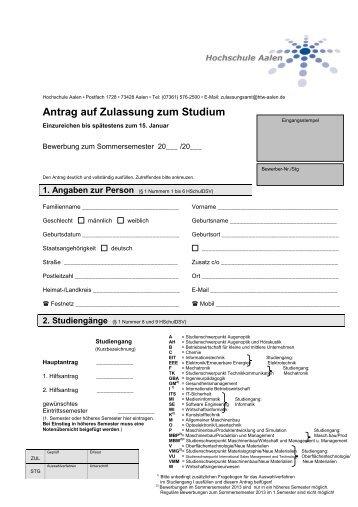 Antrag auf Zulassung zum Studium - Hochschule Aalen