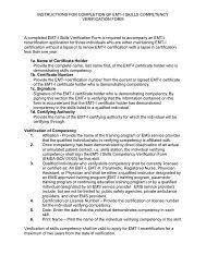 INSTRUCTIONS FOR COMPLETION OF EMT-I SKILLS ...