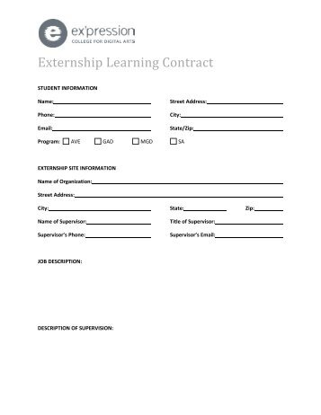 Externship Learning Contract
