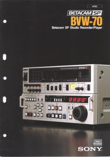 Sony BVW-70P Manual - Westside Media Group