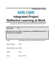 D8.1 Results of the user studies, requirements - Mirror