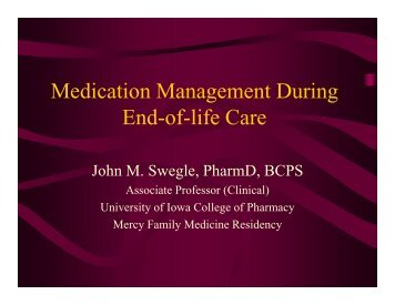 Medication Management During End-of-life Care
