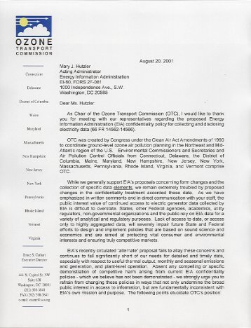 OTC Letter to Mary Hutzler, Energy Information Administration