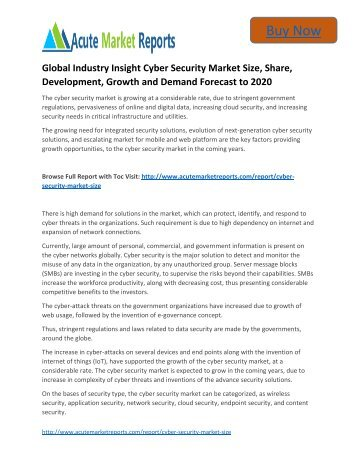Global Industry Insight Cyber Security Market to 2020 Size, Industry Trends, Growth Prospects Till,: Acute Market Reports