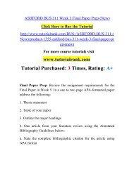 ASHFORD BUS 311 Week 3 Final Paper Prep/ Tutorialrank