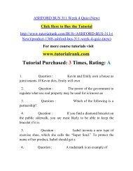 ASHFORD BUS 311 Week 4 Quiz/ Tutorialrank