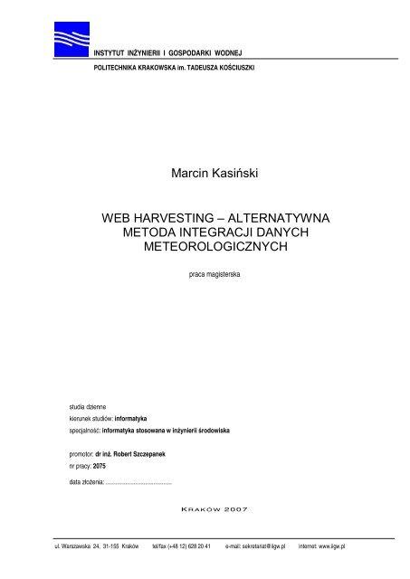 Marcin Kasiåski Webharvesting Instytut Inå¼ynierii I