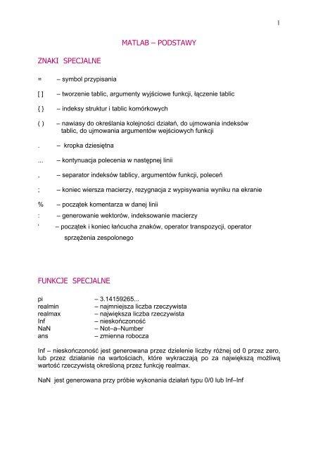 Matlab Podstawy Znaki Specjalne Funkcje Specjalne