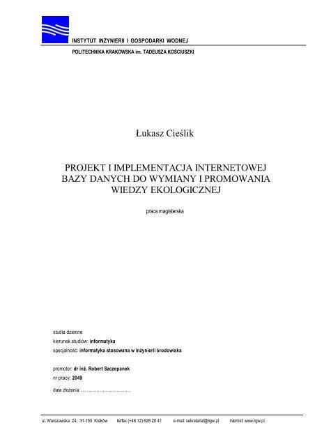 å Ukasz Cieålik Projekt I Implementacja Internetowej