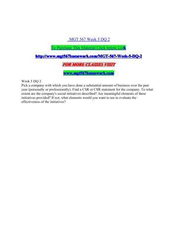 MGT 567 Week 5 DQ 2 - mgt567homework.com