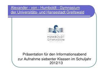 Info-Veranstaltung Klasse 7 - Präsentation des Schulleiters - 2012