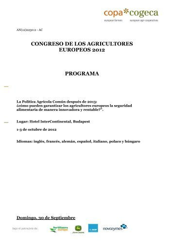 CONGRESO DE LOS AGRICULTORES EUROPEOS 2012 PROGRAMA
