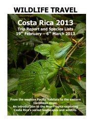 WILDLIFE TRAVEL Costa Rica 2013