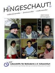 Hingeschaut 2009 - 2010 - Lebenshilfe Schweinfurt