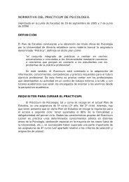 NORMATIVA DEL PRACTICUM DE PSICOLOGÍA