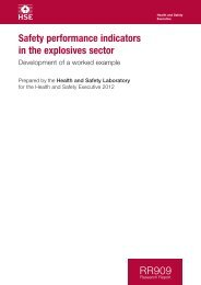 RR909 - Safety performance indicators in the explosives sector - HSE