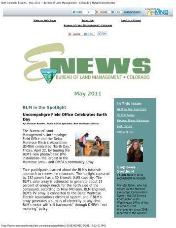 BLM Colorado E-News - May 2011 :: Bureau of Land Management ...