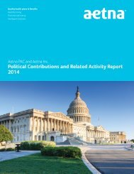 Aetna PAC and Aetna Inc Political Contributions and Related Activity Report 2011