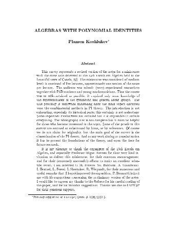 ALGEBRAS WITH POLYNOMIAL IDENTITIES Plamen Koshlukov ...