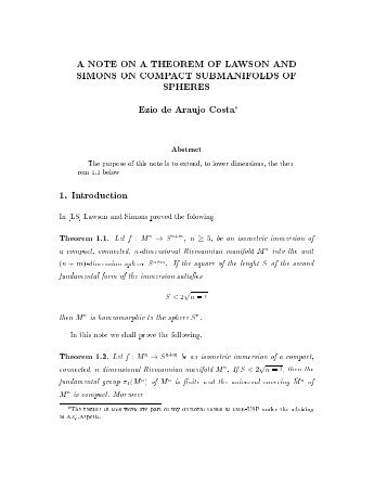 A NOTE ON A THEOREM OF LAWSON AND SIMONS ON ...