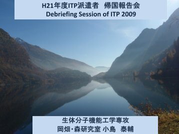 H21 年 度 ITP 派 遣 者 帰 国 報 告 会 Debriefing Session of ITP 2009