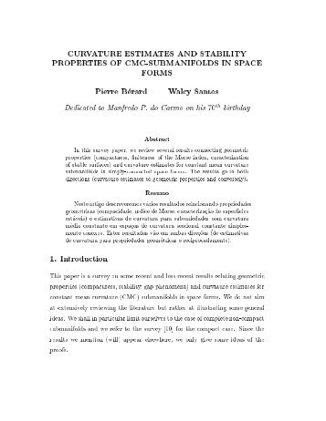 CURVATURE ESTIMATES AND STABILITY PROPERTIES OF CMC ...