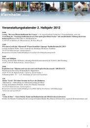 Veranstaltungskalender 2. Halbjahr 2012 - Viernheim