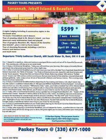 Savannah, Jekyll Island & Beaufort - Paskey Tours!