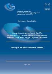 Interação das toxinas Cry do Bacillus thuringiensis svar. israelensis ...