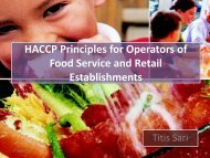 HACCP Principles for Operators of Food Service and Retail Establishments