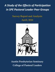 A Study of the Effects of Participation in SPE Pastoral Leader Peer Groups