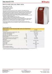 Data sheet SI 11TE Brine-to-water heat pump Basic series