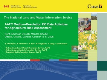 AAFC Medium-Resolution EO Data Activities for Agricultural Risk Assessment