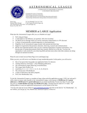 A S T R O N O M I C A L L E A G U E MEMBER at LARGE Application