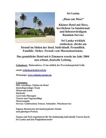 Sri Lanka ÄHaus am Meer³ K1eines Hote1 mit ... - Srilanka-Insider